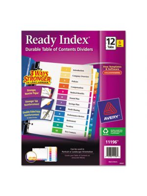 Ready Index Customizable Table of Contents, Asst Dividers, 12-Tab, Ltr, 6 Sets