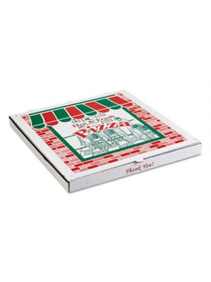 Corrugated StoreFront Pizza Boxes, Kraft, 20 x 20, White/Red/Green, 25/Carton