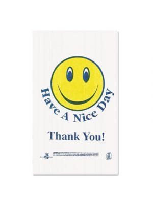 Smiley Face Shopping Bags, 12.5 Microns, White, 900/Carton