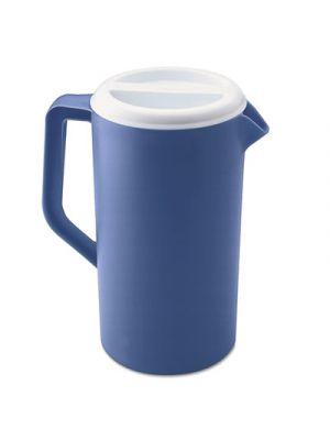 Plastic Three-Way-Lid Pitcher, 36oz, Blue