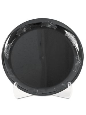 Designerware Plastic Plates, 9 Inches, Black, Round, 10/Pack