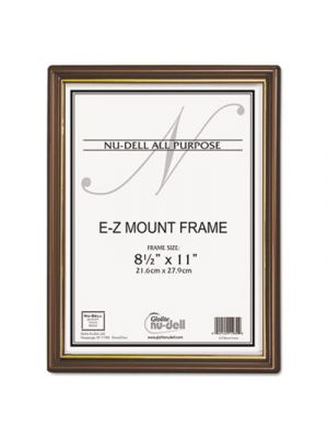 EZ Mount Document Frame with Trim Accent, Plastic, 8-1/2 x 11, Walnut/Gold