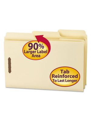 SuperTab File Folders with Fastener; 1/3 Cut; 11 Point; Legal; Manila; 50/Box
