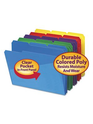 Slash Pocket Poly File Folders; 1/3 Cut Top Tab; Letter; Assorted; 30/Box
