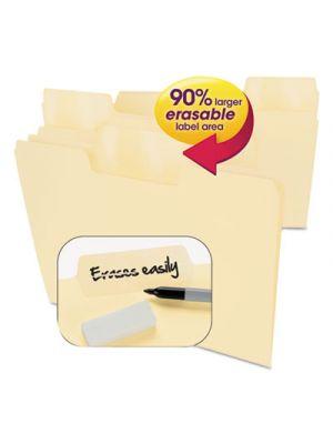 Erasable SuperTab File Folders; Letter; Manila; 24/Set