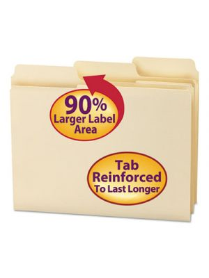 SuperTab Guide Height Reinforced Folders; Top Tab; Letter; Manila; 100/Box