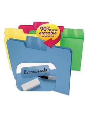 Erasable SuperTab File Folders; Letter; Assorted Colors; 24/Set