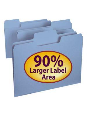 SuperTab Colored File Folders; 1/3 Cut; Letter; Blue; 100/Box