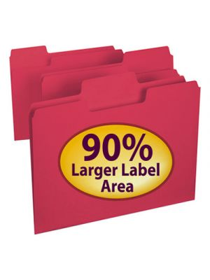 SuperTab Colored File Folders; 1/3 Cut; Letter; Red; 100/Box