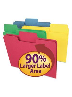 SuperTab Colored File Folders; 1/3 Cut; Letter; Assorted; 100/Box