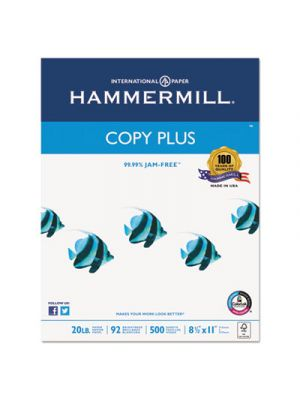 Copy Plus Copy Paper, 92 Brightness, 20lb, 8-1/2 x 11, White, 5000 Sheets/Carton