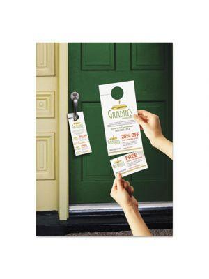 Door Hanger w/Tear-Away Cards, 4 1/4 x 11, Matte White, 10/Sheet, 40 Sheets/Pack