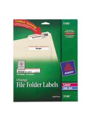 Permanent File Folder Labels, TrueBlock, Inkjet/Laser, Orange Border, 750/Pack