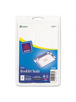 Booklet Seals, 1 1/2 dia, White, 240/Pack