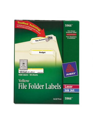 Permanent File Folder Labels, TrueBlock, Inkjet/Laser, Yellow Border, 1500/Box