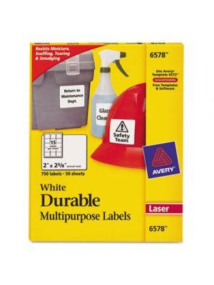 Permanent ID Labels w/TrueBlock Technology, Laser, 2 x 2 5/8, White, 750/Pack