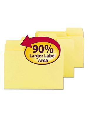 SuperTab Colored File Folders; 1/3 Cut; Letter; Yellow; 100/Box