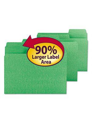 SuperTab Colored File Folders; 1/3 Cut; Letter; Green; 100/Box