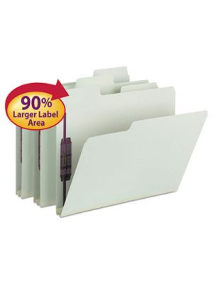 SuperTab Folders with SafeSHIELD Fasteners; 1/3 Cut; Letter; Gray/Green; 25/Box