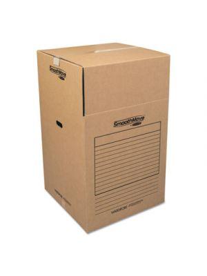 SmoothMove Wardrobe Boxes, 24l x 24w x 40h, Kraft/Blue, 3/Carton