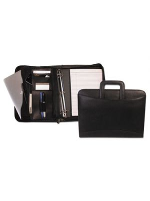 Zippered Tablet-iPad Organizer with Removable Binder, Black Leather