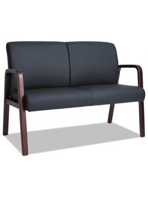 Alera Reception Lounge Series Wood Loveseat, 44 7/8 x 26 1/8 x 33 Black/Mahogany