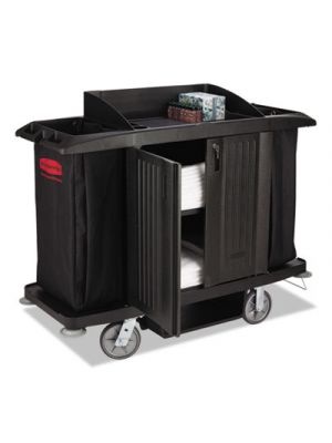 Full-Size Housekeeping Cart, Three-Shelf, 22w x 60d x 50h, Black