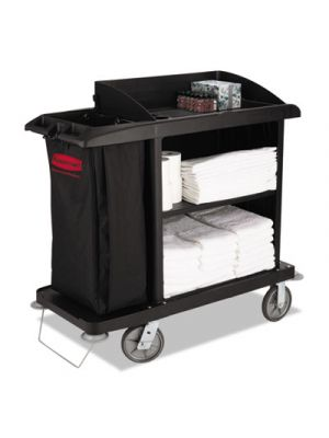 Multi-Shelf Cleaning Cart, Three-Shelf, 22w x 49d x 50h, Black