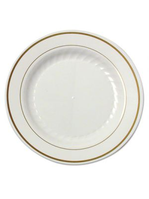 Masterpiece Plastic Plates, 7 1/2 in, Ivory w/Gold Accents, Rnd, 10/PK, 15 PK/CT