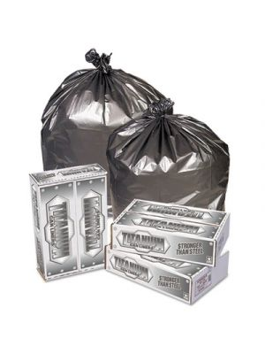 Titanium Low-Density Can Liners, 55-60 gal, 1.7 mil, 39 x 57, Silver, 50/Carton
