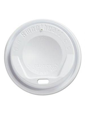Gourmet Dome Sip-Through Lids, 8oz Cups, White, 100/Sleeve, 10 Sleeves/Carton