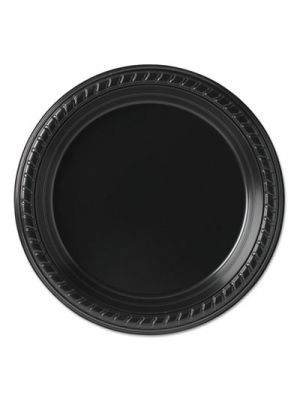 Party Plastic Plates, 7 1/4in, Black, 25/Pack, 20 Packs/Carton