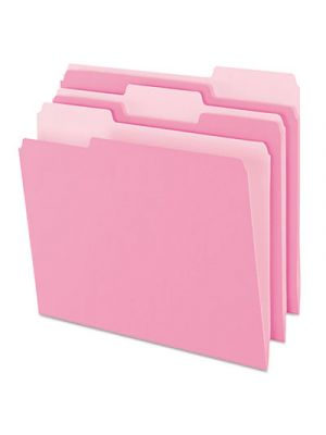 Colored File Folders; 1/3 Cut Top Tab; Letter; Pink/Light Pink; 100/Box