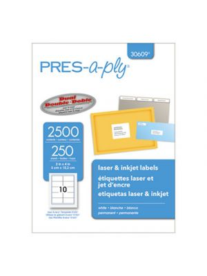 Laser Shipping Labels, 2 x 4, White, 2500/Box