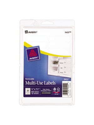 Removable Multi-Use Labels, 1/2 x 1 3/4, White, 840/Pack