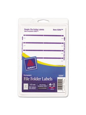 Print or Write File Folder Labels, 11/16 x 3 7/16, White/Purple Bar, 252/Pack