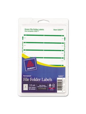 Print or Write File Folder Labels, 11/16 x 3 7/16, White/Green Bar, 252/Pack