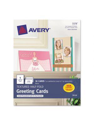 Textured Half-Fold Greeting Cards, Inkjet, 5 1/2 x 8 1/2, Wht, 30/Bx w/Envelopes