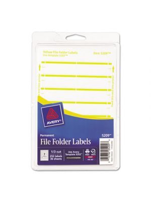 Print or Write File Folder Labels, 11/16 x 3 7/16, White/Yellow Bar, 252/Pack