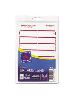 Print or Write File Folder Labels, 11/16 x 3 7/16, White/Dark Red Bar, 252/Pack