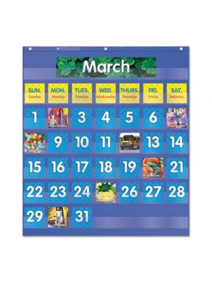Monthly Calendar Pocket Chart, 25 1/2 x 10 x 0.13, Blue/Clear