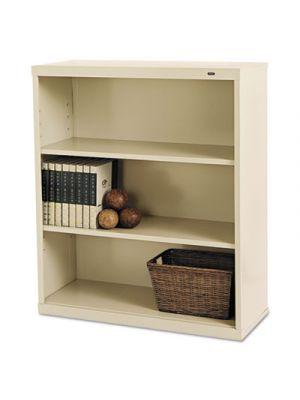 Metal Bookcase, Three-Shelf, 34-1/2w x 13-1/2d x 40h, Putty