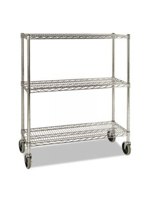 ProSave Shelf Ingredient Bin Cart, Three-Shelf, 38w x 14d x 48 3/8h, Chrome