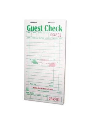 Guest Check Book, 3 1/2 x 6 7/10, Green/White, 50/Book, 50 Books/Carton