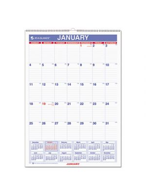 Monthly Wall Calendar with Ruled Daily Blocks, 12 x 17, White, 2018