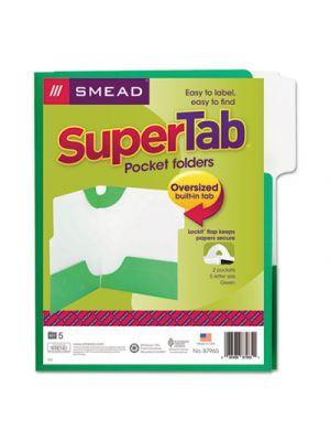 SuperTab Two-Pocket Folder, 11 x 8 1/2, Green, 5/Pack