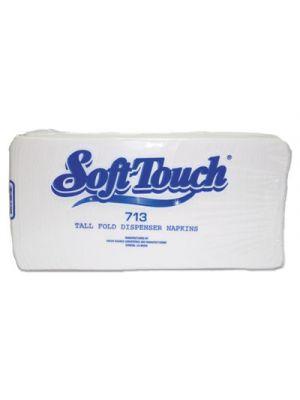 Soft Touch Dispenser Napkins, 1-Ply, 13 1/2 x 7, White, 500/Pack, 20 Pack/Crtn
