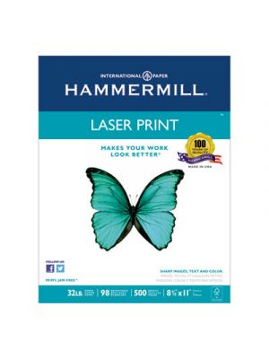 Laser Print Office Paper, 98 Brightness, 32lb, 8-1/2 x 11, White, 500 Sheets/RM
