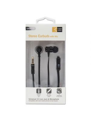 800 Series Earbuds w/Microphone, Black, 4 ft Cord