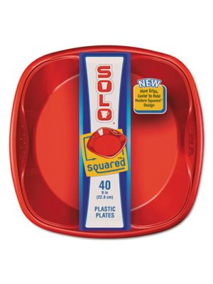 Solo Squared Plastic Dinnerware, Plate, 9 x 9, Red/Blue, 40/Pack, 8 Pack/Carton